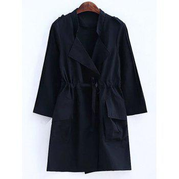Plus Size Convertible Collar Epaulet Trench Coat - BLACK 3XL