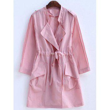 Plus Size Convertible Collar Epaulet Trench Coat - PINK 2XL
