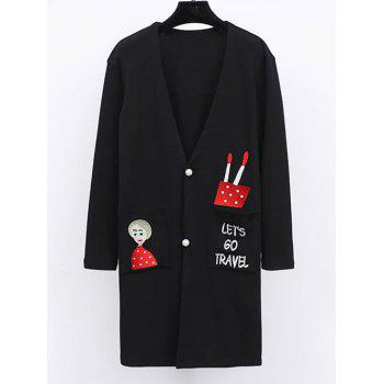 Plus Size Cartoon Embroidery Coat - BLACK 4XL