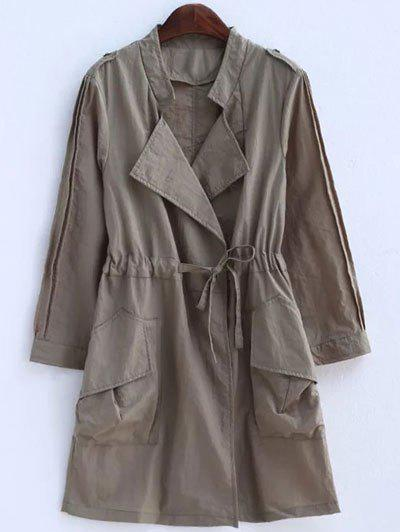 Plus Size Convertible Collar Epaulet Trench Coat - KHAKI 4XL