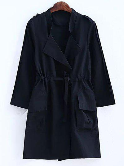 Plus Size Convertible Collar Epaulet Trench Coat - BLACK 2XL