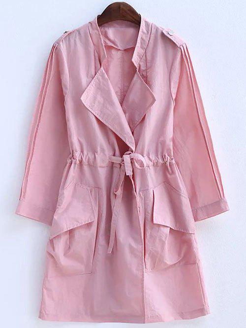 Plus Size Convertible Collar Epaulet Trench Coat - PINK 4XL