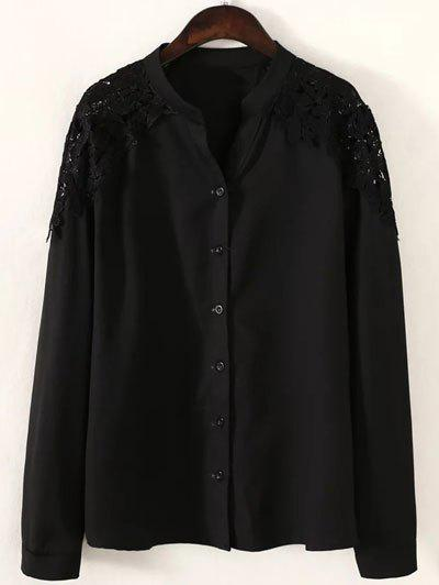 Plus Size Splicing Lace Shirt Solid Color - Noir XL