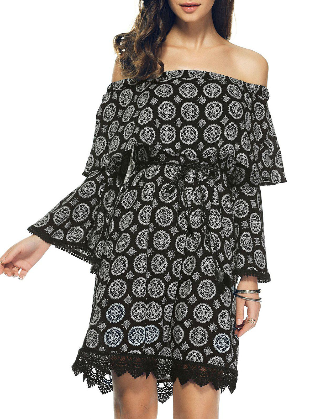 Off The Shoulder Pattern Bell Sleeve Crochet Trim Dress - BLACK XL