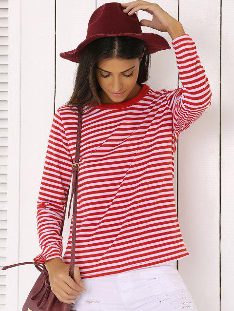 Casual Red and White Striped T-Shirt - RED/WHITE XL