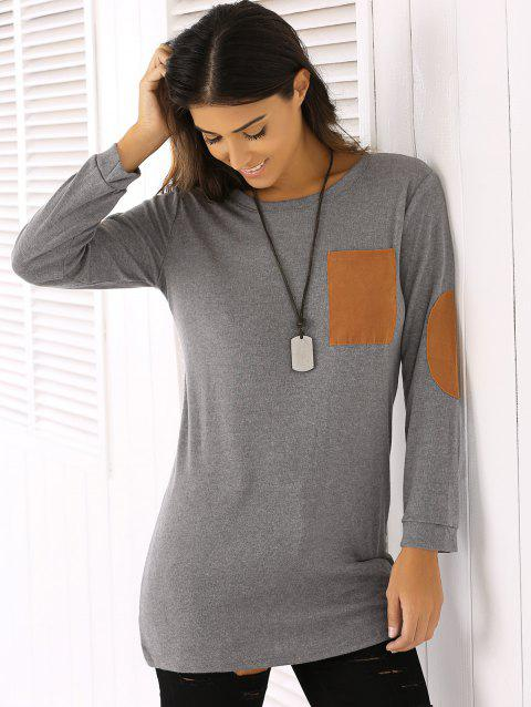 Trendy Round Neck Patch Design Women's T-Shirt - GRAY XL