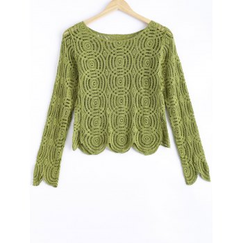 Sweet Crochet See-Through Wave Hem Long Sleeve Blouse