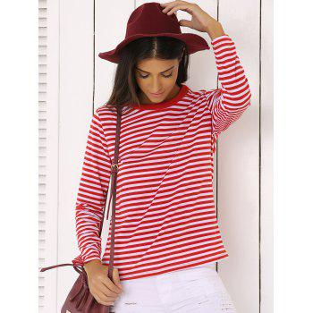 Casual Red and White Striped T-Shirt