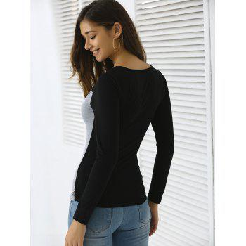 Slimming Long Sleeve Cut Out Top - GRAY GRAY