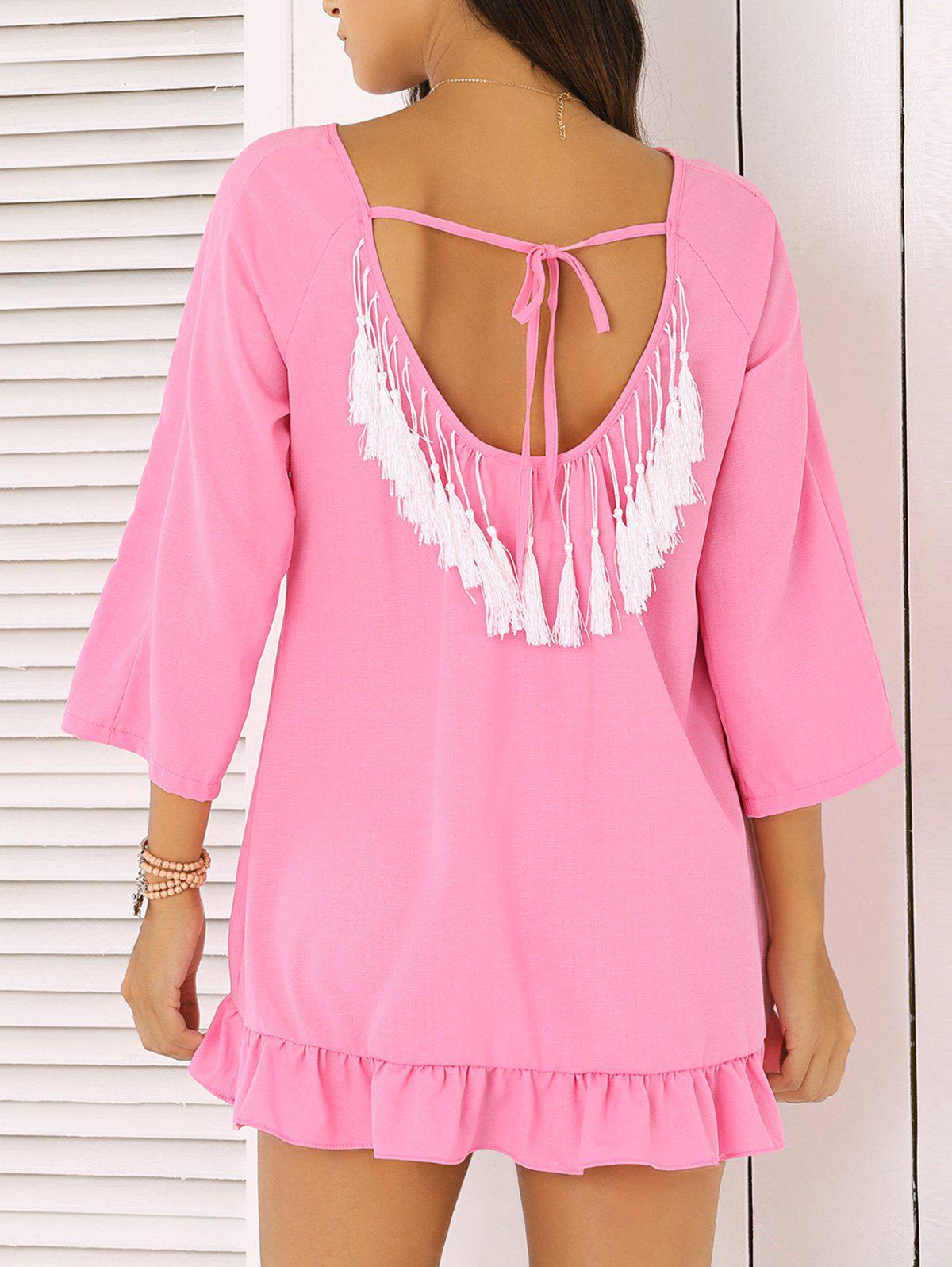 Chic 3/4 Sleeve Fringed Backless Women's Dress - ROSE RED XL