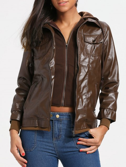 Flap Pockets Hooded Faux Leather Jacket - RED BROWN L