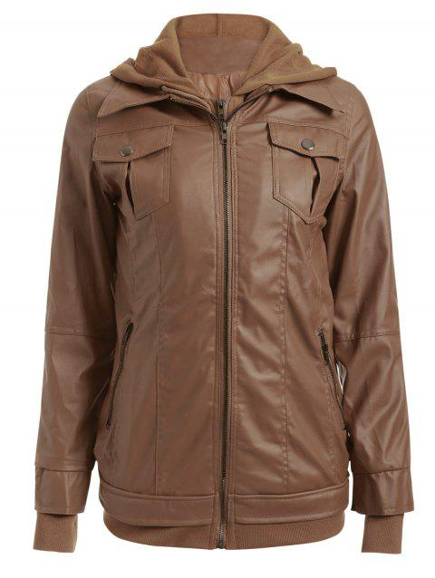 Flap Pockets Hooded Faux Leather Jacket - BRONZE COLORED L