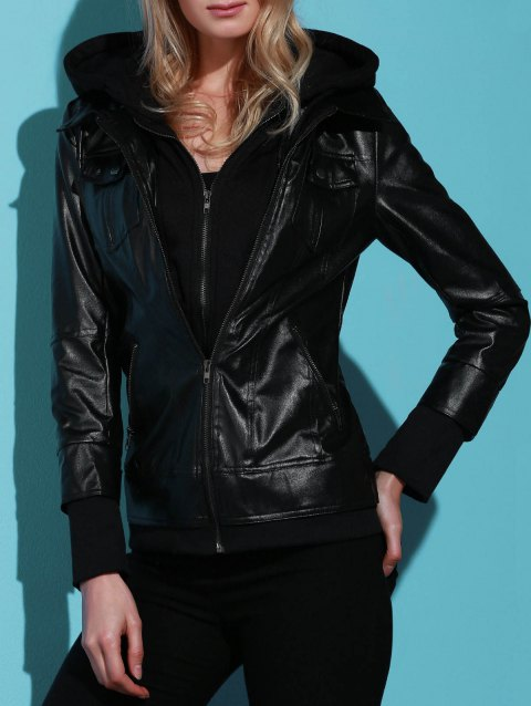 Flap Pockets Hooded Faux Leather Jacket - BLACK L