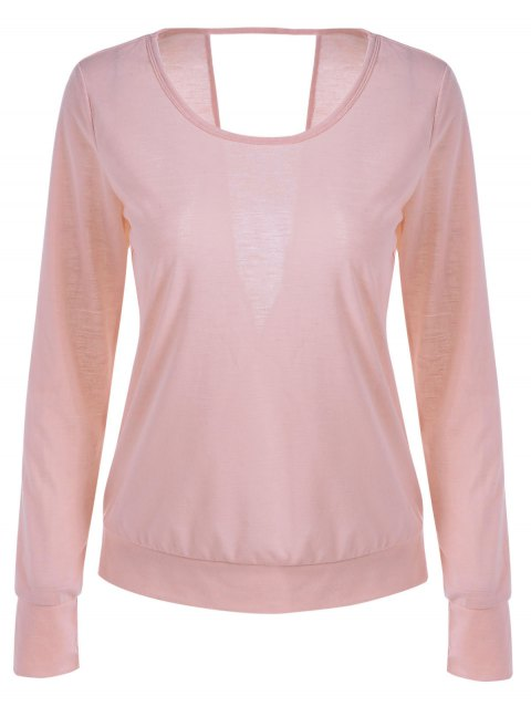 Open Back Long Sleeve Pink T-Shirt - PINK L