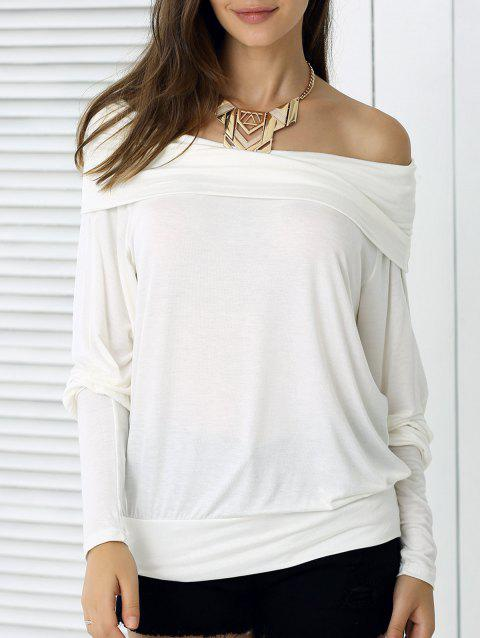 Loose Fit Pure Color Long Sleeve Tee - OFF WHITE M