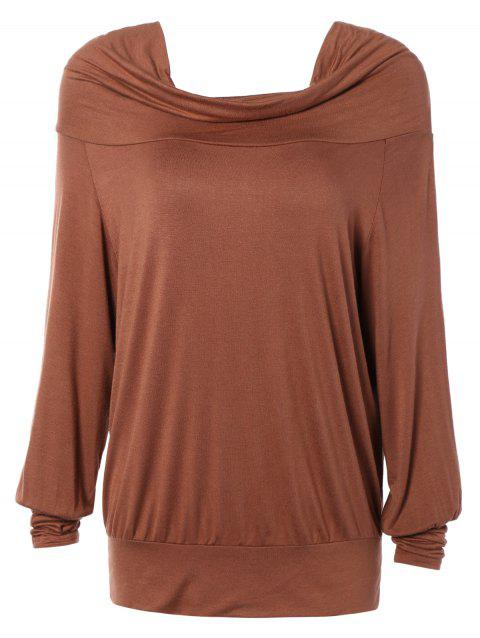 Loose Fit Pure Color Long Sleeve Tee - KHAKI S