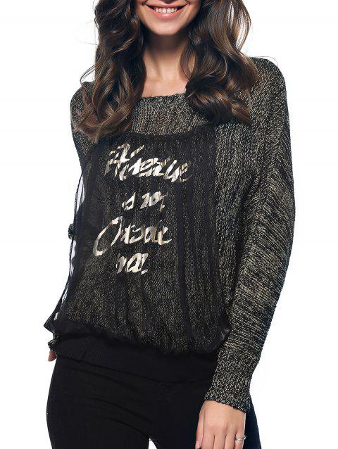 Trendy Long Sleeve Spliced Letter Scoop Neck Marled Knitted Blouse - GRAY ONE SIZE