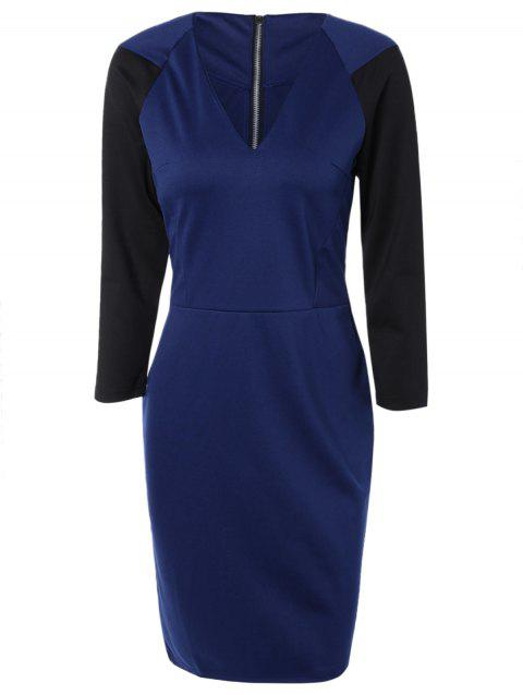 V Neck Zip Fly Sheath Dress - SAPPHIRE BLUE XL