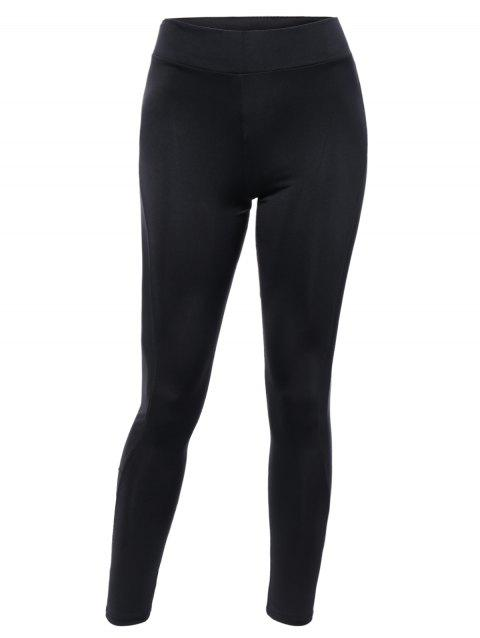 Sportive See-Through Mesh Spliced Black Ninth Yoga Pants - BLACK ONE SIZE