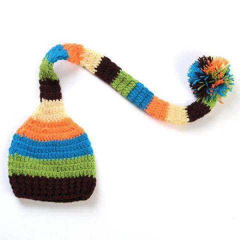 Stylish Cute New Born Baby Photography Long Tassel Pendant Striped Crocheting Knitted Beanie - BLUE