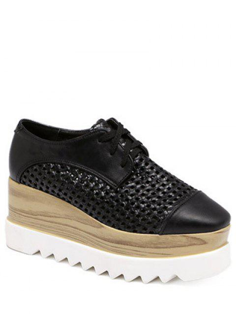 Trendy évider et Lace-Up Design Femmes  's Platform Shoes - Noir 38