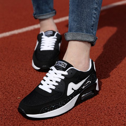 Trendy Breathable and Tie Up Design Women's Athletic Shoes - BLACK 37