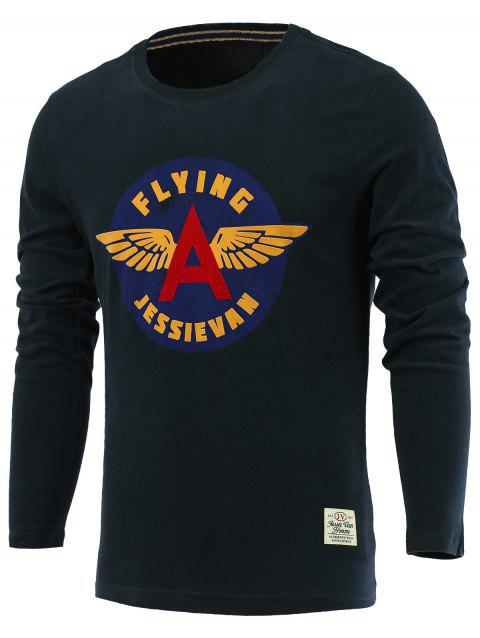 Letters and Wings Print Long Sleeve Round Neck T-Shirt - SAPPHIRE BLUE L