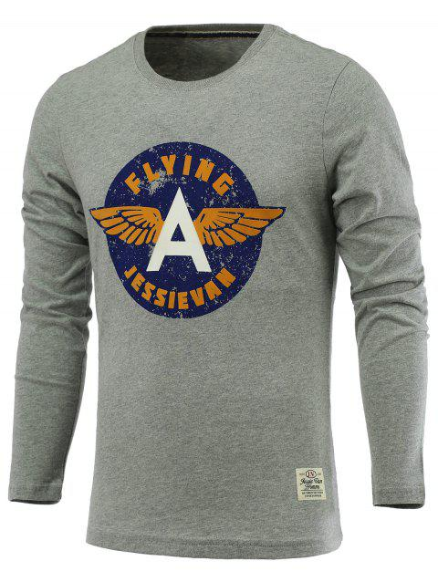 Letters and Wings Print Long Sleeve Round Neck T-Shirt - GRAY M