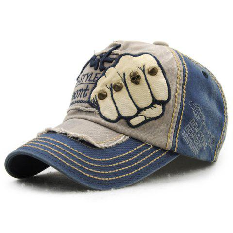 4895bfc9948 Fashion Fist Embroidery Rivet Decorated Do Old Men s Summer Baseball Hat -  BLUE
