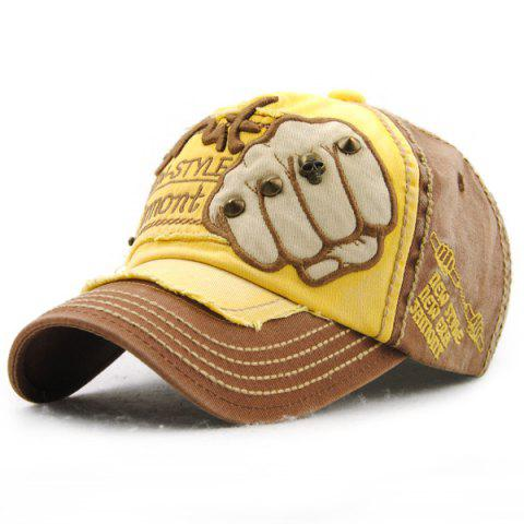 049283c415b Fashion Fist Embroidery Rivet Decorated Do Old Men s Summer Baseball Hat -  COFFEE