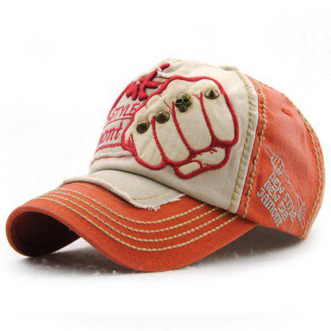 e56de81651d Fashion Fist Embroidery Rivet Decorated Do Old Men s Summer Baseball Hat -  RED
