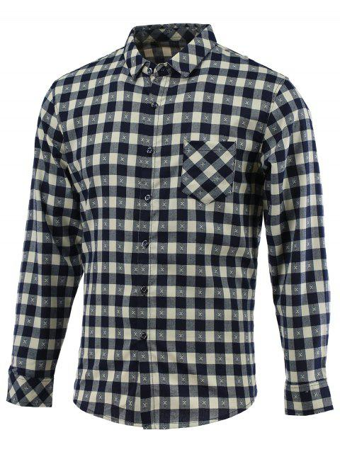 Embroidery Checked Turn-Down Collar Long Sleeve Shirt - BLUE L
