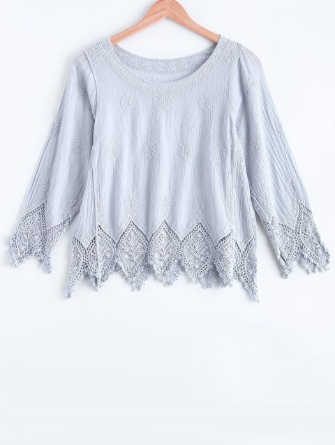 Asymmetrical Guipure Lace Spliced Blouse - GRAY ONE SIZE