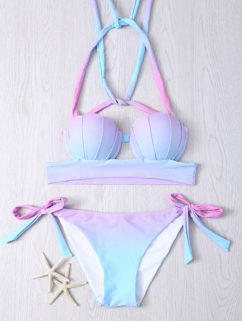 Halter Ombre Underwire Seashell Bikini Set - COLORMIX 2XL