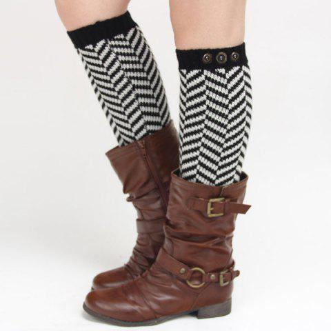 Winter Buttons Herringbone Knitted Leg Warmers - BLACK