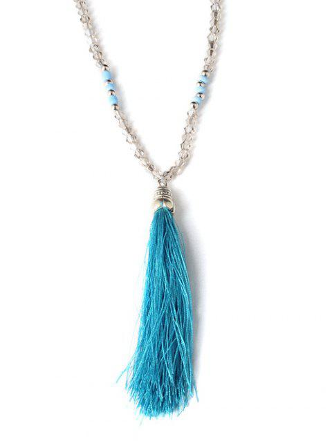 Graceful Chain Tassel perlée Sweater - Bleu