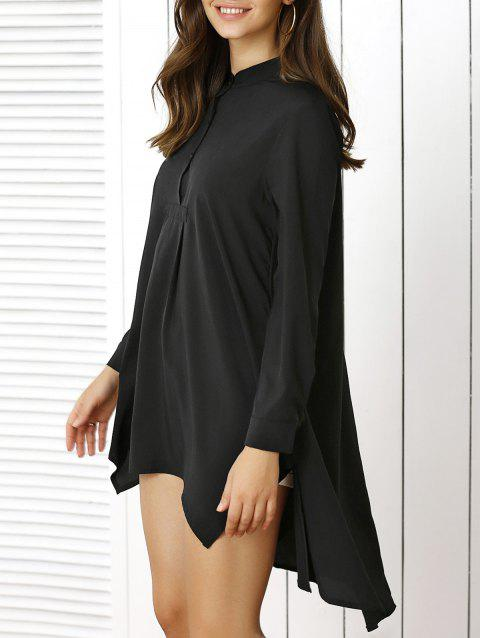 Stylish Stand Collar Long Sleeve Asymmetric Dress - BLACK XL