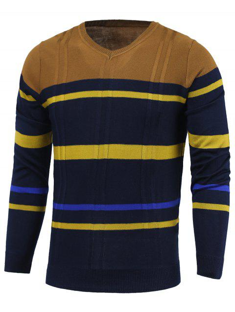 Stripe Color Block Splicing col en V Pull à manches longues - Cadetblue M