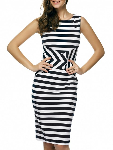 Slimming Stripe Sleeveless Dress - WHITE/BLACK M