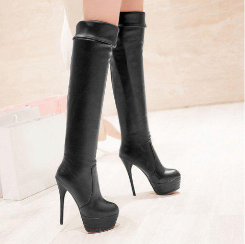 Trendy Stiletto Heel and Platform Design Women's Thigh High Boots - BLACK 39