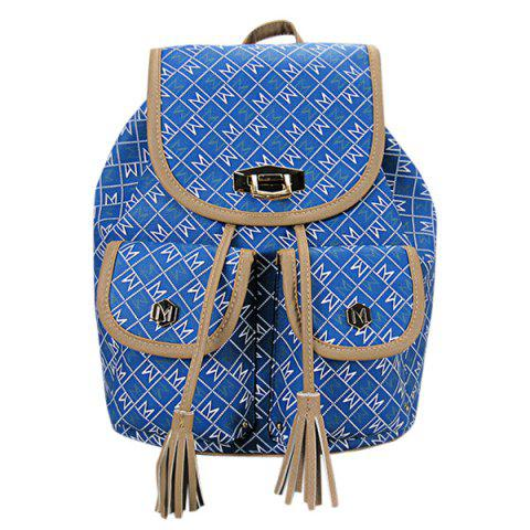 Casual Tassels and Letter Print Design Women's Backpack - BLUE