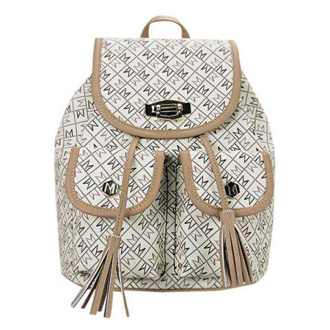 Casual Tassels and Letter Print Design Women's Backpack - OFF WHITE