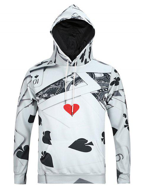 3D Poker Print Kangaroo Pocket Men's Long Sleeve Hoodie - GRAY 3XL