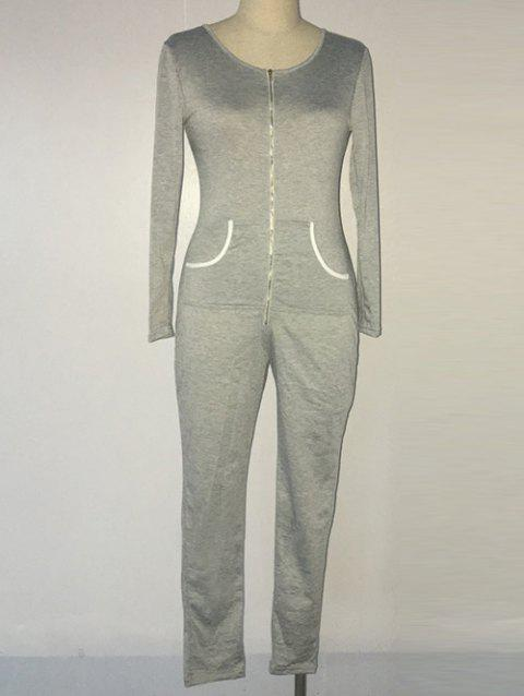 Casual Zippered Pocket Design Skinny Women's Jumpsuit - GRAY S