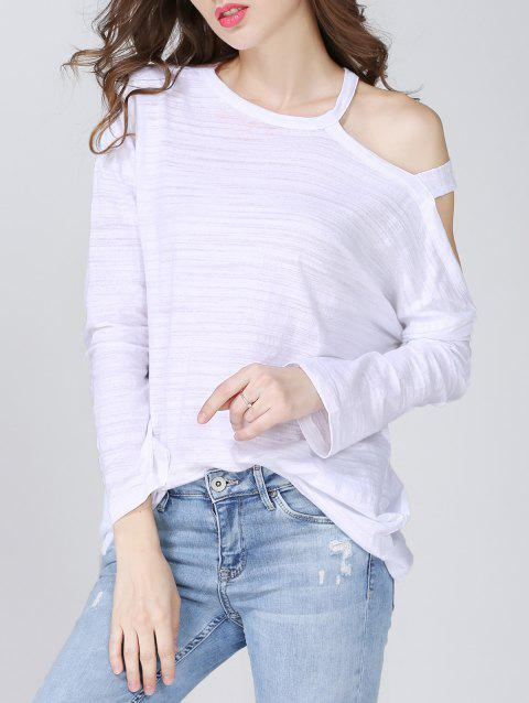 Trendy Cut Out Solid Color Loose-Fitting Women's T-Shirt - WHITE ONE SIZE