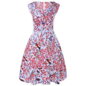 Buy Sleeveless Sweetheart Neck Retro Floral Flare Dress COLORMIX