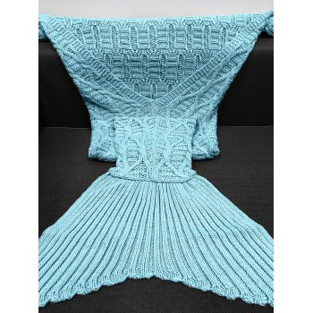 Comfortable Solid Color Crochet Knitting Geometric Pattern Mermaid Tail Design Blanket - LIGHT BLUE