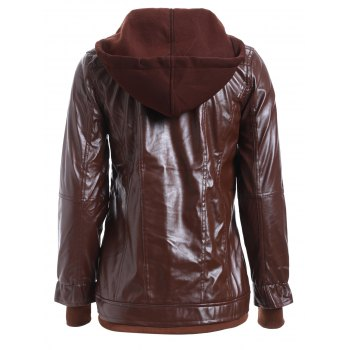 Chic Solid Color Faux Twinset PU Jacket - RED BROWN S