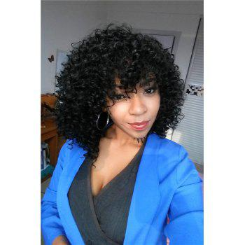 Stylish Medium Afro Curly Side Bang Synthetic Hair Wig For Women - BLACK