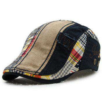 Retro Patchwork Pattern Embroidery Outdoor Sunscreen Men's Cabbie Hat
